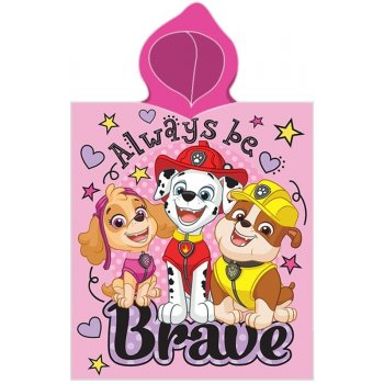 Dívčí pončo - osuška s kapucí Tlapková patrola - Always be Brave