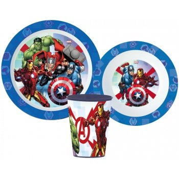 Sada plastového nádobí Avengers s kelímkem
