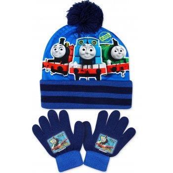Chlapecká zimní čepice + prstové rukavice Lokomotiva Tomáš