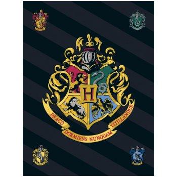 Malá fleecová deka Harry Potter s erbem školy čar a kouzel v Bradavicích