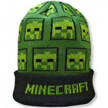 Zimní úpletová čepice Minecraft - zelená