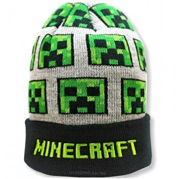 Dětská úpletová čepice Minecraft - šedá